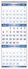 #51 Blue Jumbo Numbers 3 Month Wall Calendar