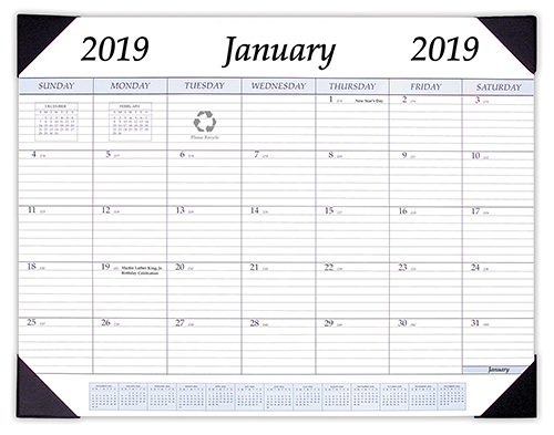 App 1 2019 All Purpose Monthly Desk Pad Calendar 17 X 22 Inches