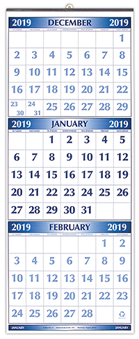#51 2019 Blue Jumbo Numbers Three-Month Wall Calendar